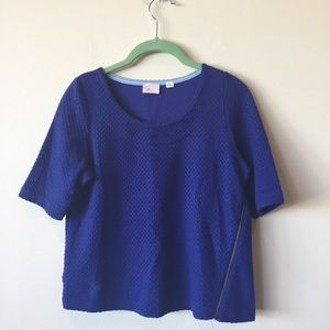 Anthropologie Mail Stamp Blue Textured Top